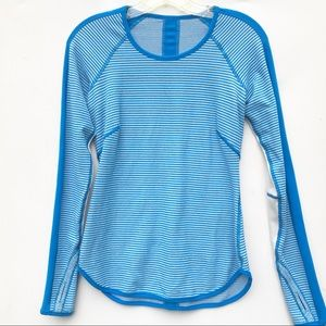 LULULEMON blue stripe long sleeve Shirt 4 6